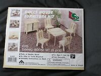 Vintage Doll House Furniture Kit Wooden Dining Room Set 6 Pc Lucky Star F202