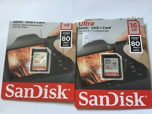 Lot-of-2pcs-16gb-Sandisk-SDHC-Memory-Card-for-SDHC-Nikon-canon