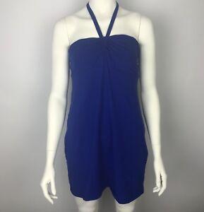 VICTORIAS-SECRET-BRA-TOPS-Blue-Strapless-Shelf-Bra-Halter-Dress-Cover-Up-L