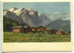 VINTAGE WETTERHORN EIGER SWISS ALPS HOUSES LITHOGRAPH SWITZERLAND COLOR PRINT C