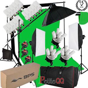 Pro-2850W-Photo-Studio-Lighting-kit-Softbox-Boom-arm-3-Cotton-Background-amp-Stand