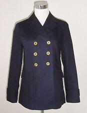 Banana Republic Navy Blue Nautical Cotton Pea Coat Trench Jacket XS 0 2