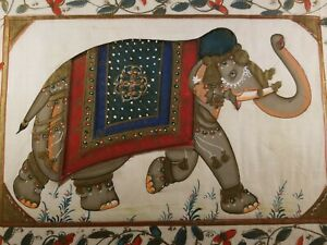 Vintage-Elephant-Painting-On-Silk-Traditional-Folk-Art-India-Unframed-Original