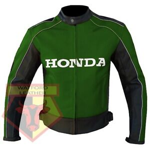 HONDA-5523-GREEN-MOTORBIKE-MOTORCYCLE-BIKERS-COWHIDE-LEATHER-ARMOURED-JACKET