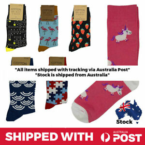 Crew-Sock-Pair-Unisex-Print-Cool-and-Funky-Fun-Happy-Novelty-Food-Animals-Music