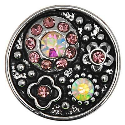 25 Antik Silber Gravur Blumen mit AB Farben Strass Klicks Klicks Druckknöpfe