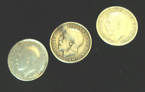 3 x George V Silver Threepence Coins - 1912, 1913 & 1914