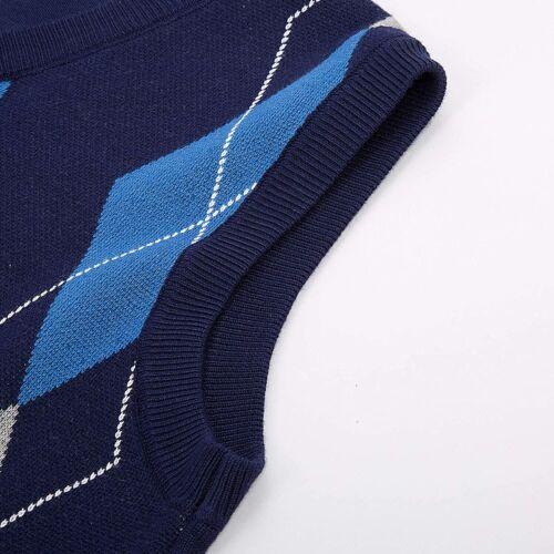 PAUL JONES Mens Argyle Sweater Vest V Neck Knitted Sleeveless Pullover Vest