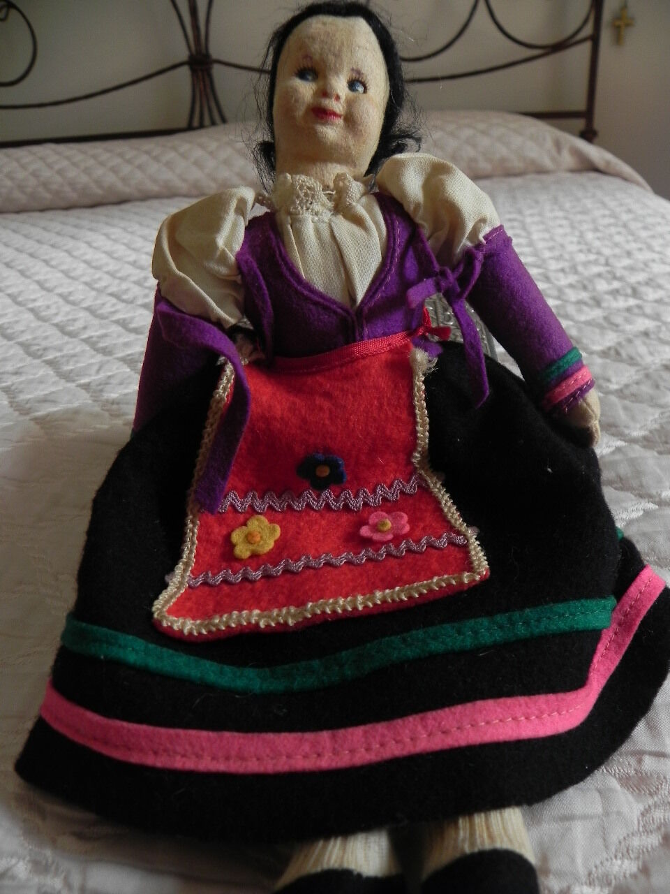 VINTAGE ANTICA BAMBOLA PANNO LENCI '50 OLD TOY DOLL POUPEE PUPPE ANTIQUE FELT