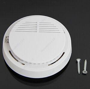 Home-Security-Fire-Sensor-Alarm-White-Photoelectric-Cordless-Smoke-Detector