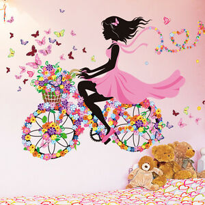 fahrrad blumen m dchen wandaufkleber wandsticker wandtattoo kinderzimmer deko ebay. Black Bedroom Furniture Sets. Home Design Ideas
