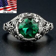 2CT Emerald 925 Solid Sterling Silver Victorian Style Ring jewelry Sz 7