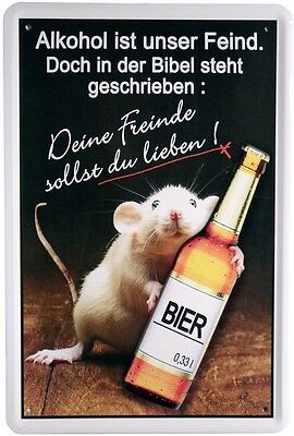 Funny Bier Schild - Alkohol ist unser Feind Metallschild 20x30cm Blechschild 911