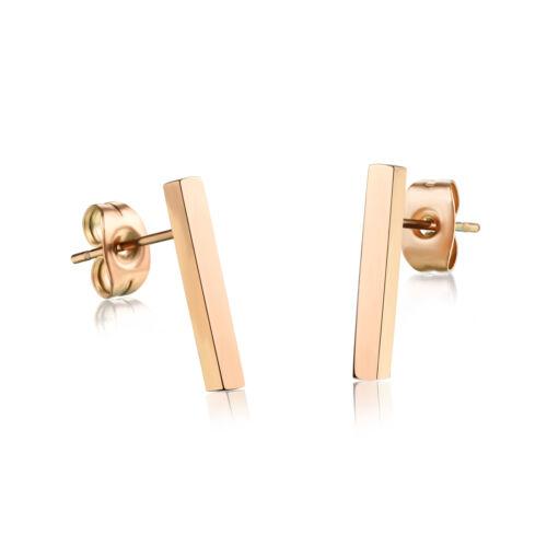 Edelstahl Rosé Gold Frauen Ohrstecker Ohrringe lang Rechteck Schmuck E314C