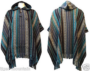 Hippy-Boho-Thick-Cotton-Hooded-Poncho-from-Nepal-in-Blue-Stripes