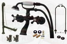 Oil Rubbed Bronze Clawfoot Tub Faucet Package Kit With  Drain, Supplies, & Stops
