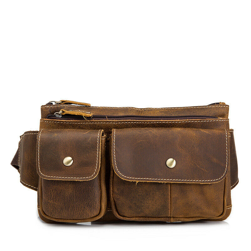 Quality Leather Waist Belt Bag Chest Pack Cowhide Travel 7