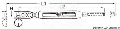 """Osculati Spannenschloss mit Gabelgelenk 3//8/"""" für Seil 5 mm"""