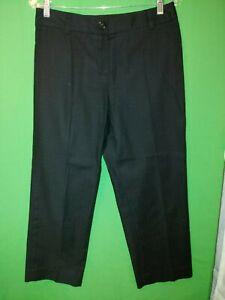 0881) TALBOTS sz 4 black cotton w/stretch front zip cropped pants mid rise 4