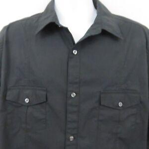 J-Ferrar-Black-Long-Sleeve-Shirt-Mens-XLT-100-Cotton