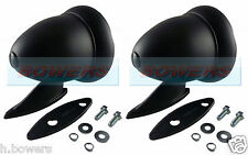 BLACK BULLET TORPEDO EXTERIOR WING DOOR MIRRORS CLASSIC VINTAGE SPORT RACING CAR