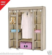 HomeBasics BROWN 3 DOOR FOLDING WARDROBE CUPBOARD ALMIRAH BEST QUALITY