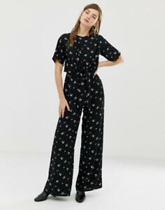 New Glamorous Ditsy Floral Print Tie Knot Front Wide Leg Jumpsuit Boho Look 12