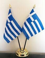 GREECE X2 TABLE FLAG SET 2 flags plus GOLDEN BASE GREEK