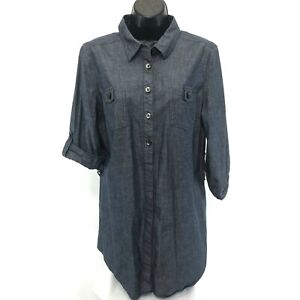 Liz Claiborne Chambray Tunic Shirt Sz L Popover Look 3/4 Tab Sleeve Button Up
