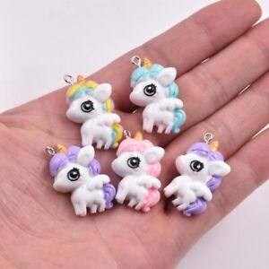 10PC-Cartoon-Big-Eye-Unicorn-Pony-Resin-Charm-Pendant-28-22MM-For-DIY-Jewelry