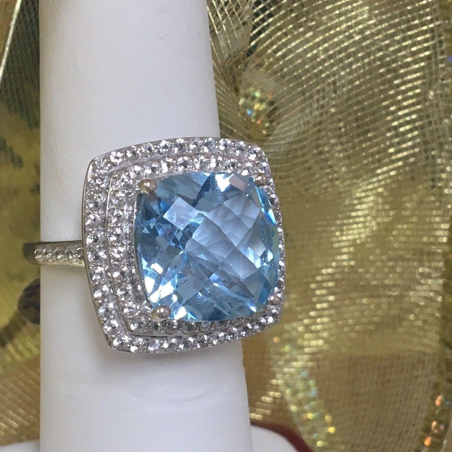 bluee and White Topaz Ring (10k)
