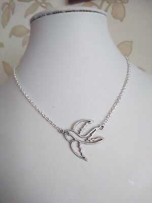 """Swallow bird pendant necklace silver plated chain 16/"""" steampunk art deco"""
