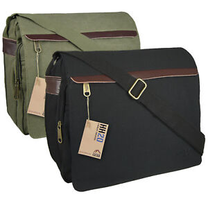 Canvas-Leather-Messenger-Satchel-Mens-Shoulder-Bag-Across-Body-School-College