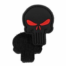 PVC Morale Patch Punisher Black Red Eye 3D Badge Hook #25 Paintball