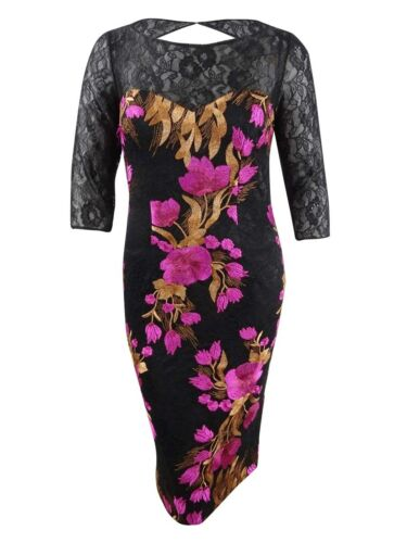 JS Collections Women/'s Embroidered Lace Sheath Dress 16, Magenta Multi
