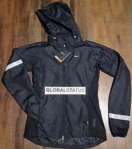 a8bd0d1d8028 NIKE WOMENS VAPOR BLACK 3M RAIN WIND FULL ZIP RUNNING JACKET 465557 ...
