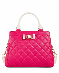 db6c2a22eb Image is loading Betsey-Johnson-Pink-Quilted-Satchel-Crossbody-Handbag-NEW-