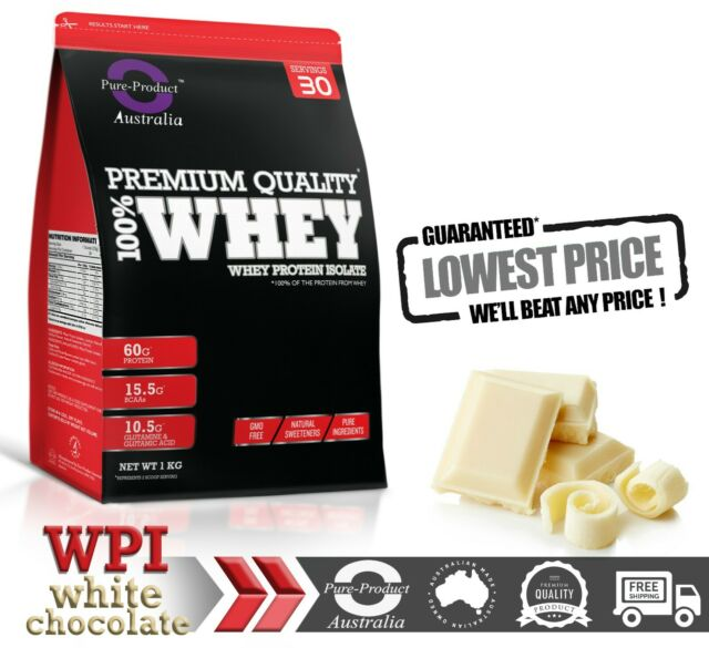 1KG WHEY PROTEIN ISOLATE POWDER 100%  WPI   GRASS-FED WHITE CHOCOLATE