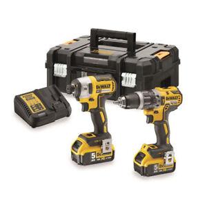 Dewalt-18v-Brushless-Combi-Drill-amp-Impact-Driver-Kit-2-x-5-0Ah-Battery-DCK266P2T