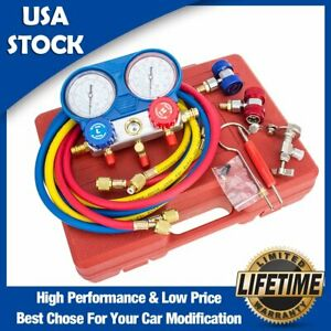 R134A AC A//C Manifold Gauge Set with Hoses and Air Vacuum Pump R134A R12