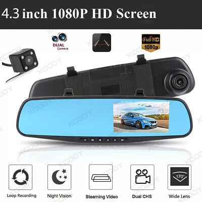 4.3/'/' FHD Dual Lens Car DVR Rear View Camera Video Recorder Vehicle Dash Cam SD