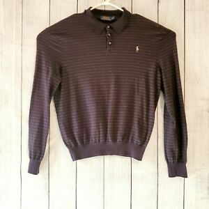 Polo-Ralph-Lauren-Mens-Long-Sleeve-Blue-With-Grey-Stripes-Pull-Over-Size-XL-EUC