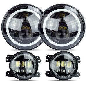 LED-Halo-Headlights-LED-Fog-Light-DRL-Combo-Kit-For-Jeep-Wrangler-JK-2007-2016