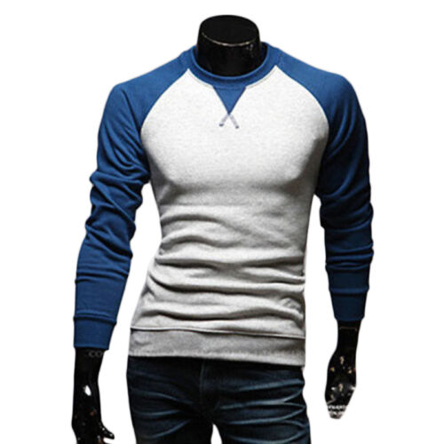 Men/'s Fashion Casual Shirts Slim Fit Crew-neck Long Sleeve Tops Tee T-shirts #CA