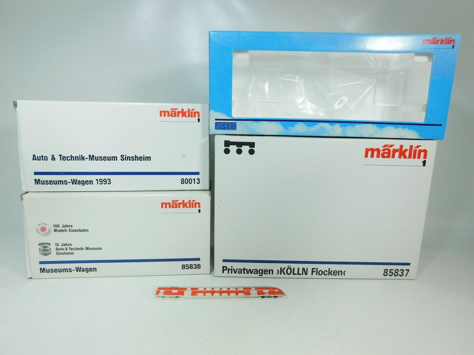 Bq224-5x Märklin pista 1 caja vacía para vagones  80013+85836+85837+95013