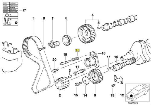 BMW M20 Engine Timing Belt Tensioner Pulley Coil Spring 11311267746