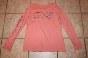 Vineyard-Vines-Womens-Small-Peachy-Pink-Long-Sleeve-Whale-T-Shirt