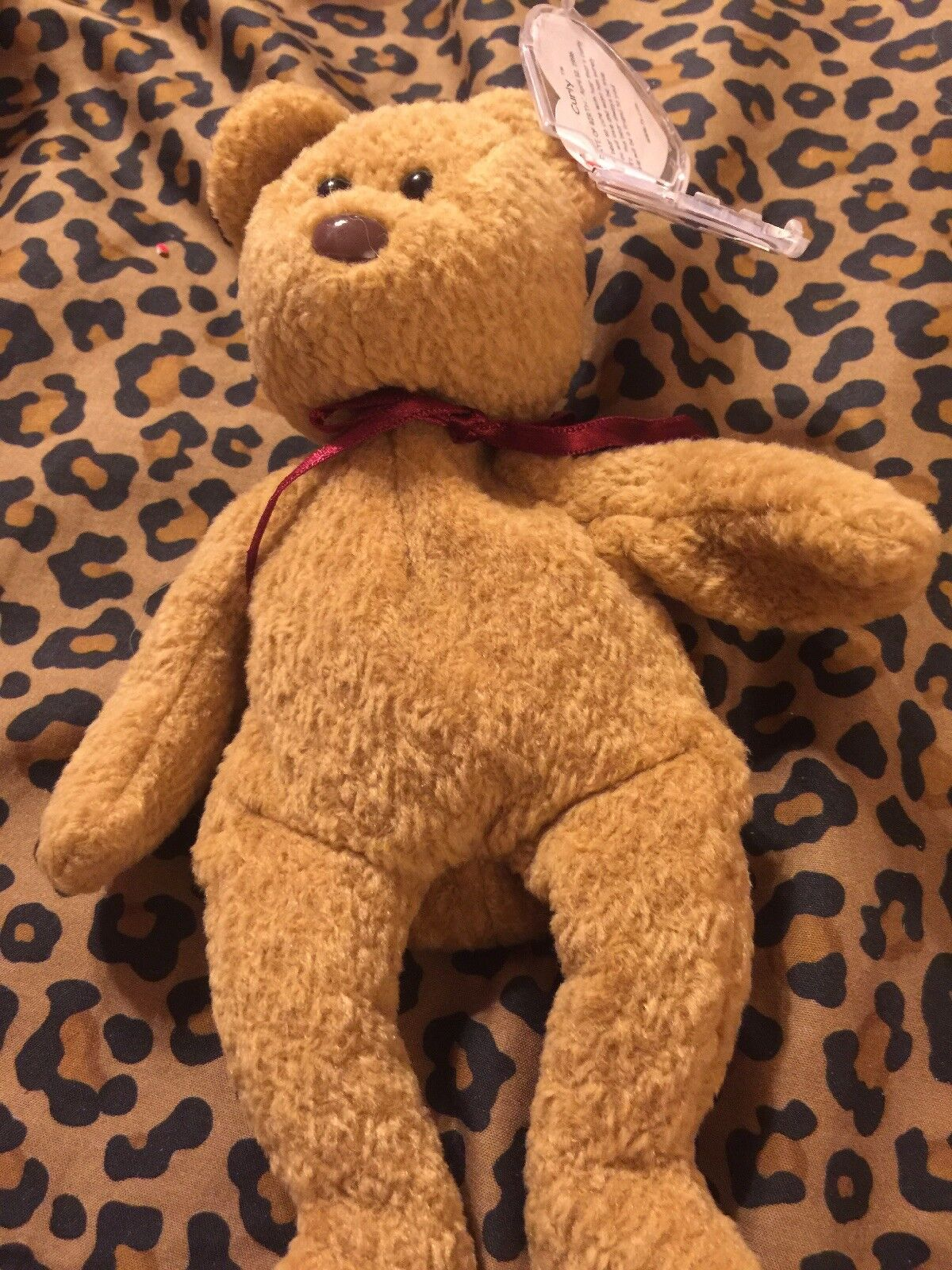 Ty Beanie Babies  Curly  Bear Plush With All The Errors