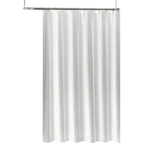 "White Extra Long Fabric Shower Curtain// Liner 70/"" x 96/"",Tone on Tone Jacquard"