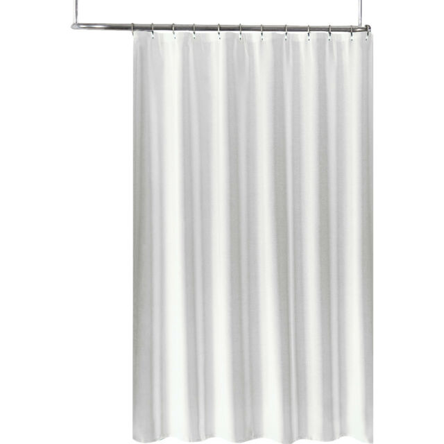 Extra Long Fabric Shower Curtain Liner 70 X 78 Tone On Jacquard White